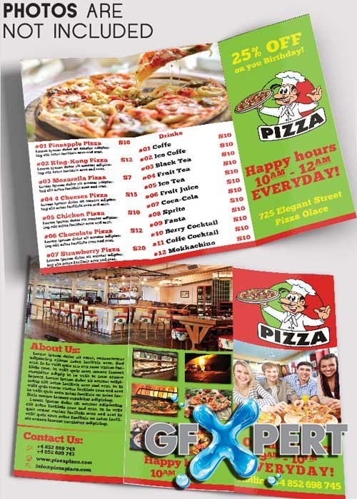 Pizza Place Tri-Fold Brochure PSD Template
