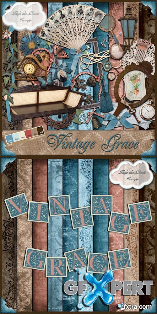 Scrap Kit - Vintage Grace (Alpha, Elements, Papers)