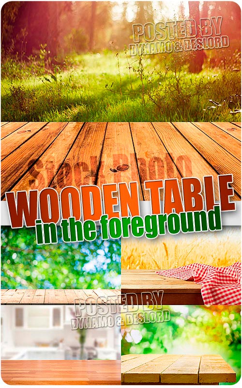 Wooden table in the foreground - UHQ Stock Photo