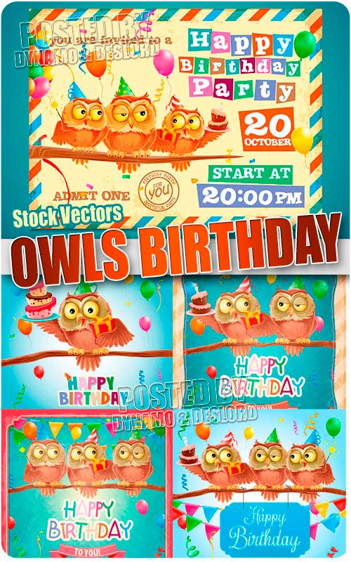 Owls birthday - Stock Vectors