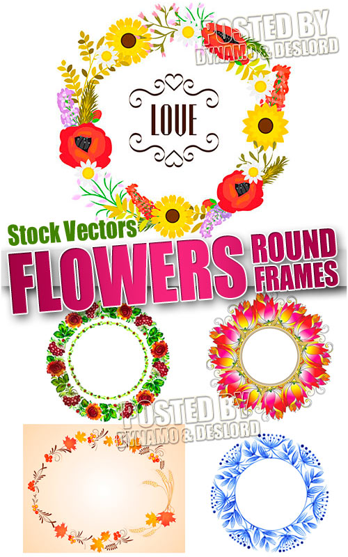 Flower round frames - Stock Vectors