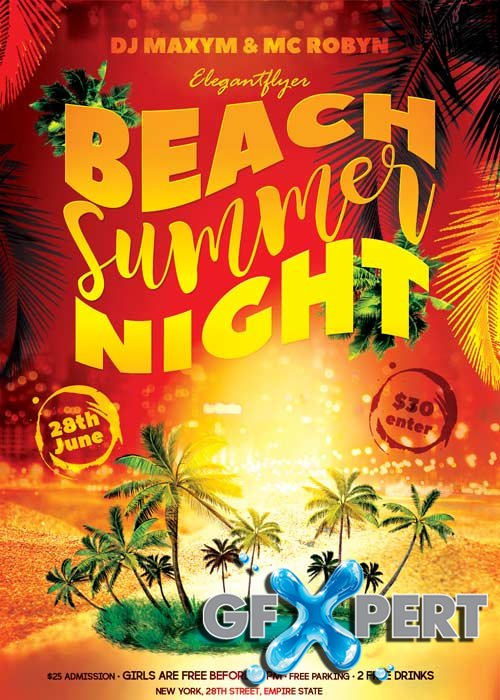 Summer Beach Night Flyer PSD Template + Facebook Cover