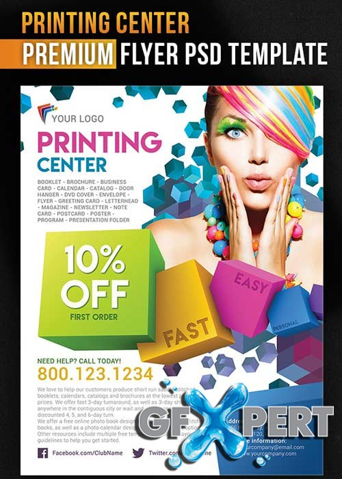 Printing Center Flyer PSD Template + Facebook Cover