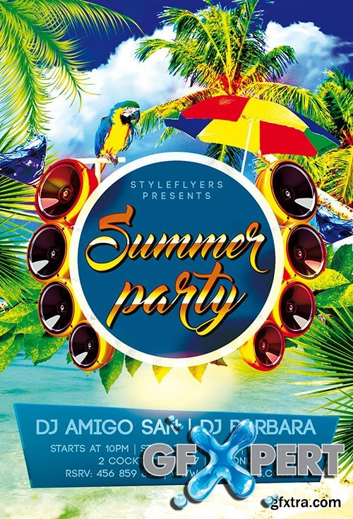 Summer Party PSD Flyer Template + Facebook Cover