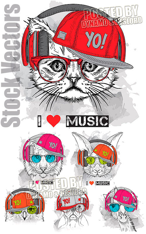 I love music t-shirts - Stock Vectors
