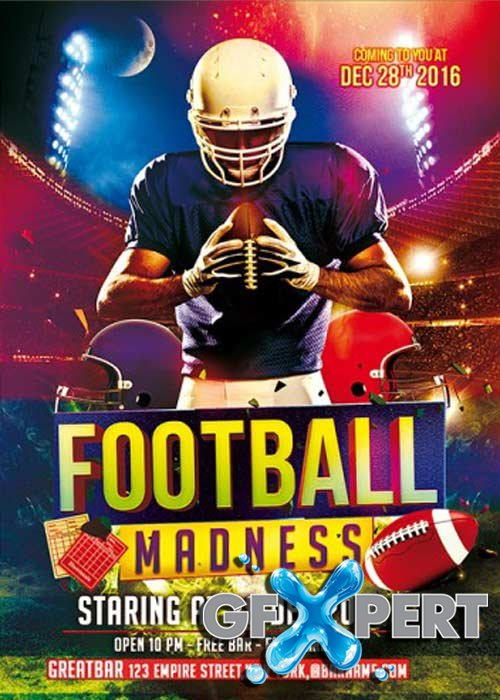 Football Madness Club and Party Flyer PSD Template