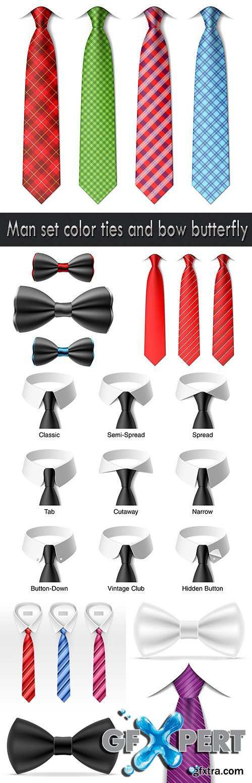 Man set color ties and bow butterfly