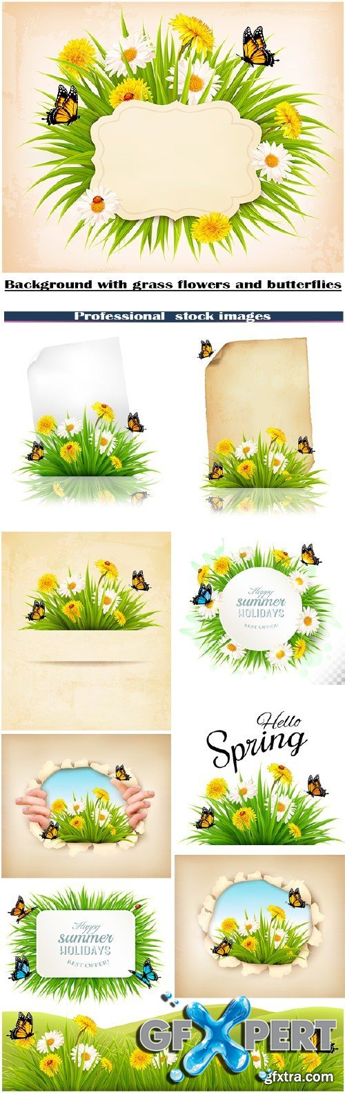 Stock vector backgrounds with grass, flowers and butterflies