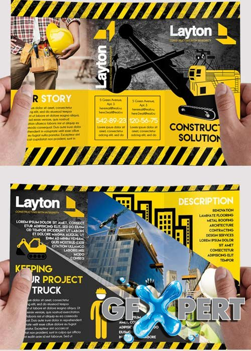 Construction Business Premium Tri-Fold PSD Brochure Template