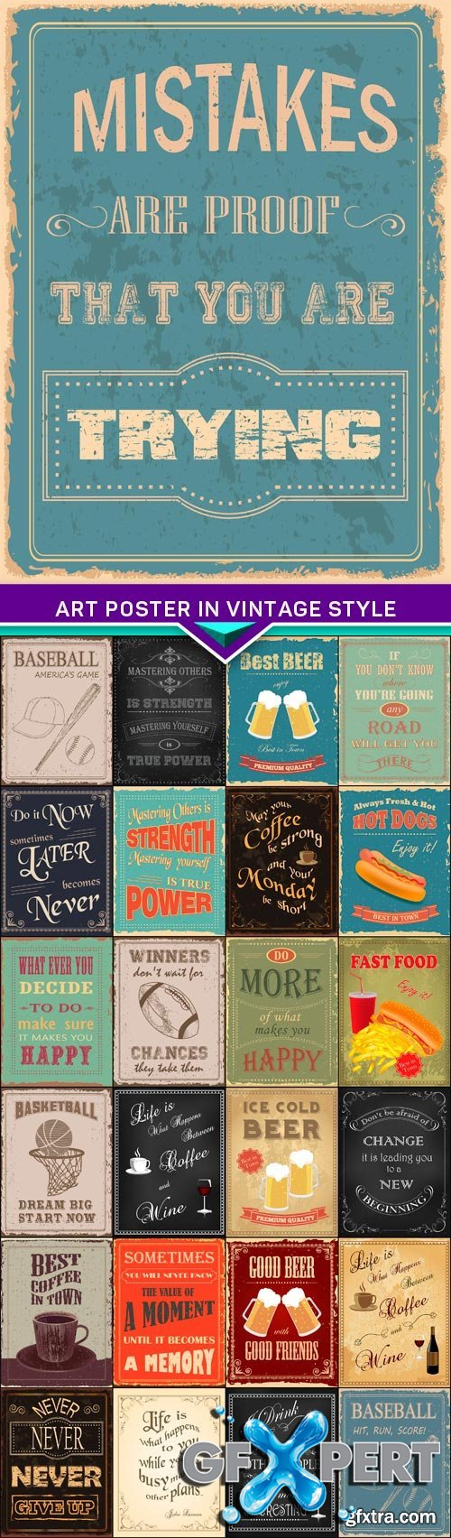 Art poster in vintage style 25x EPS