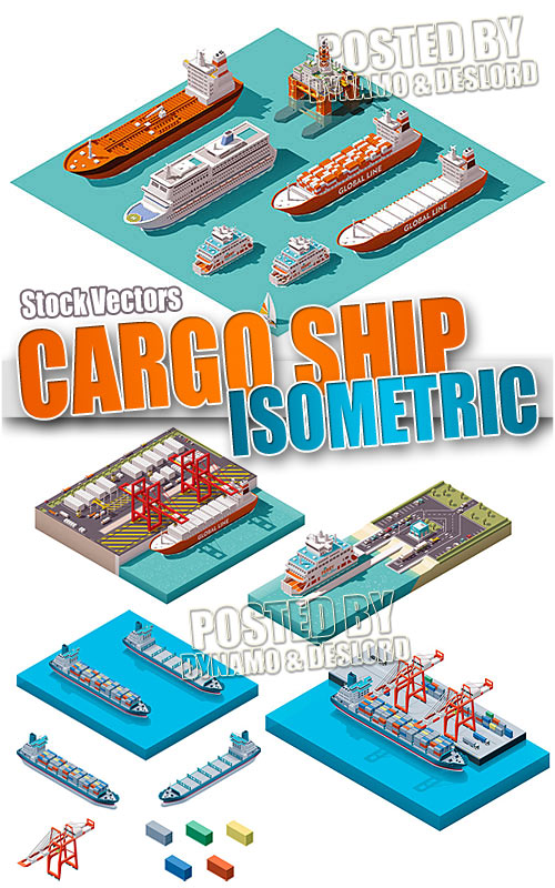 Cargo ship isometric - Stock Vectors