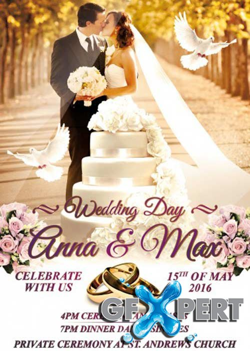 free wedding v8 psd flyer template download