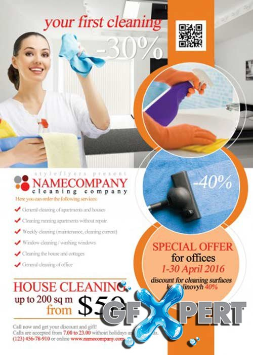 Free Cleaning Company V1 Psd Flyer Template Download
