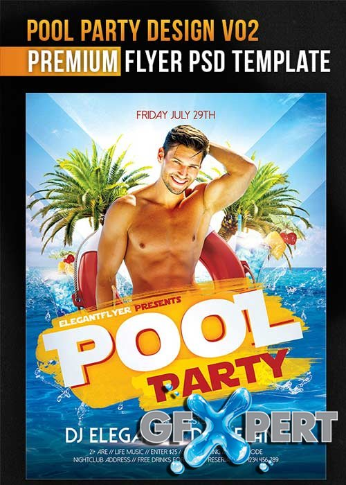 Free Pool Party Design V Flyer Psd Template  Facebook Cover Download