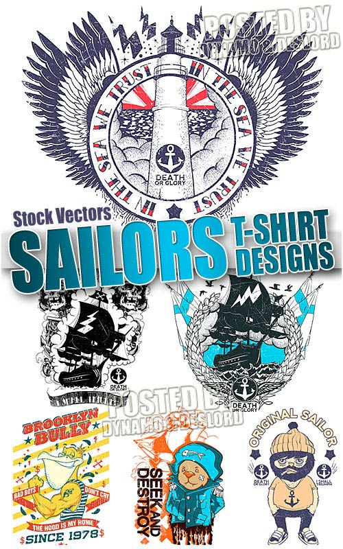 Sailors T-shirts designs - Stock Vectors