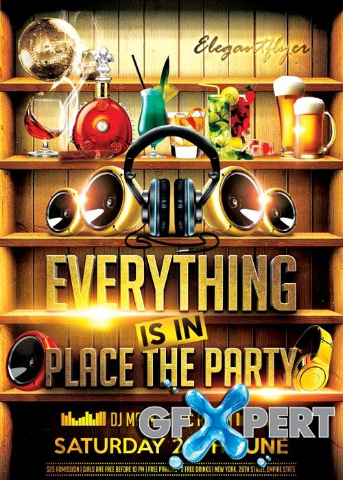 Everything is in Place the Party Flyer PSD Template + Facebook Cover