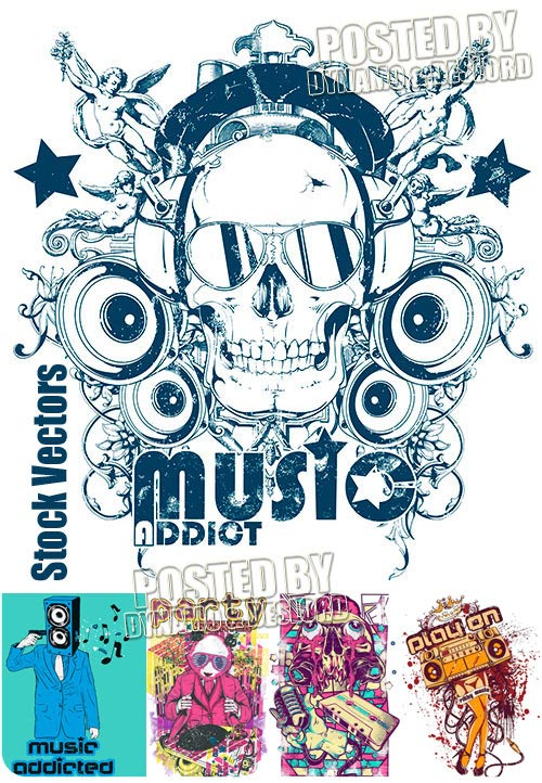 Music addict t-shirts - Stock Vectors