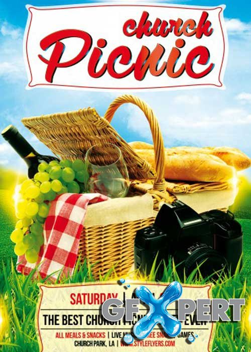 free church picnic psd flyer template download