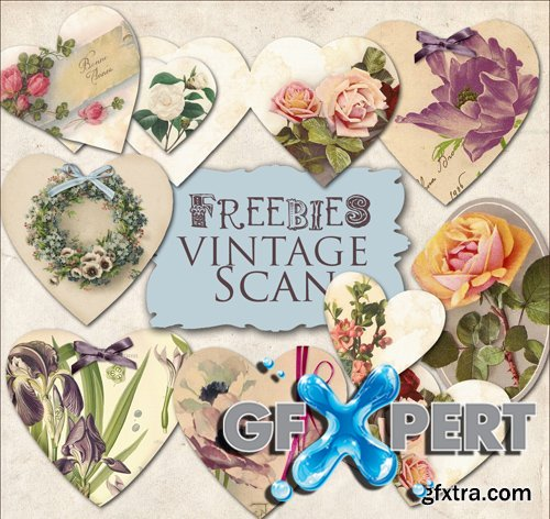 Scrap Kit - Vintage Hearts Cards with Flowers