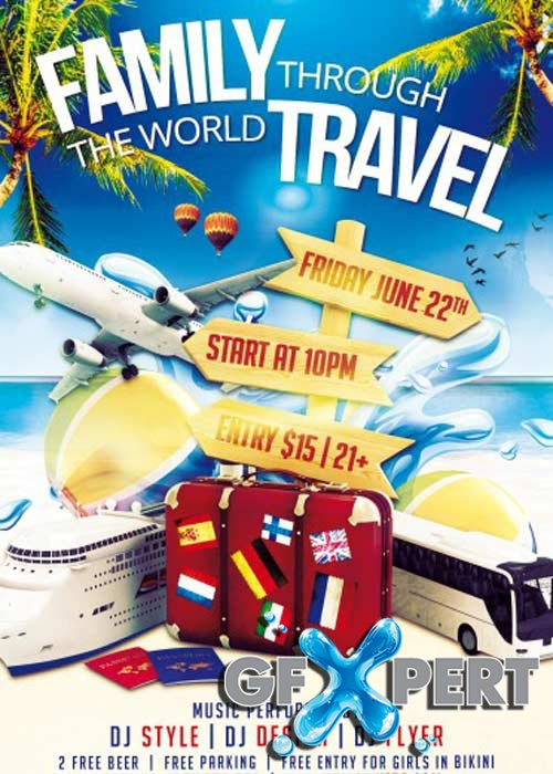 Free Family Travel Psd Flyer Template Download