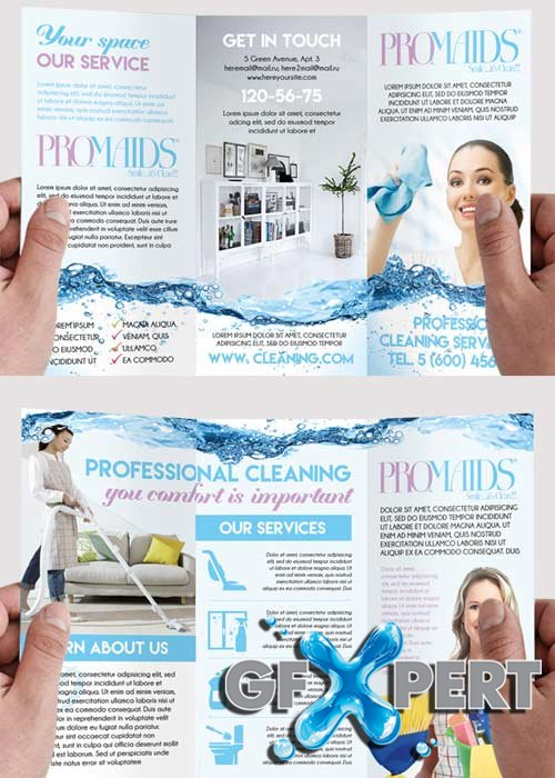 Free Cleaning Service Premium TriFold Psd Brochure Template Download