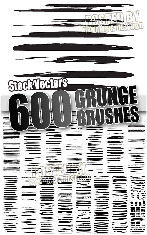 600 grunge brushes - Stock Vectors