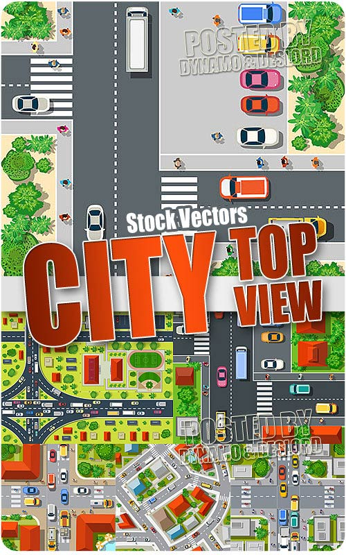 Top view of the city - Stock Vectors