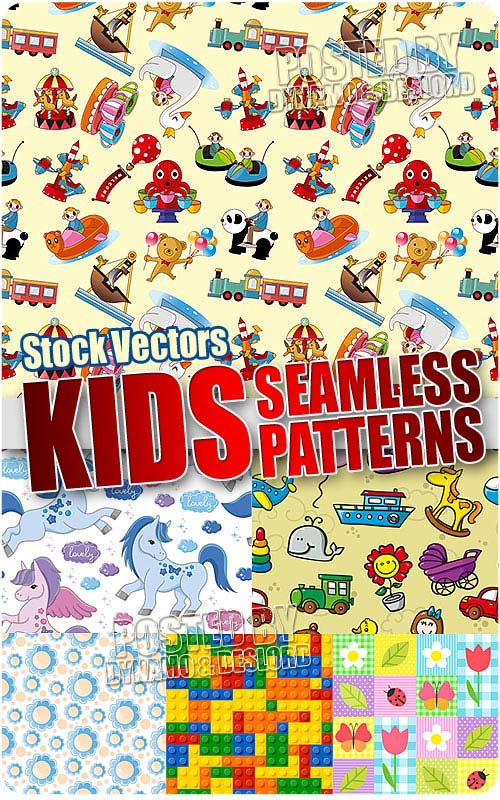Kids seamless patterns 2 - Stock Vectors
