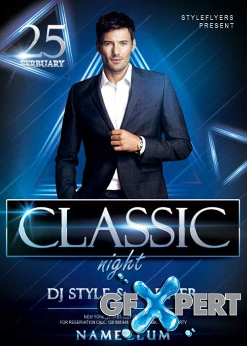 Classic Night Party V1 PSD Flyer Template with Facebook Cover
