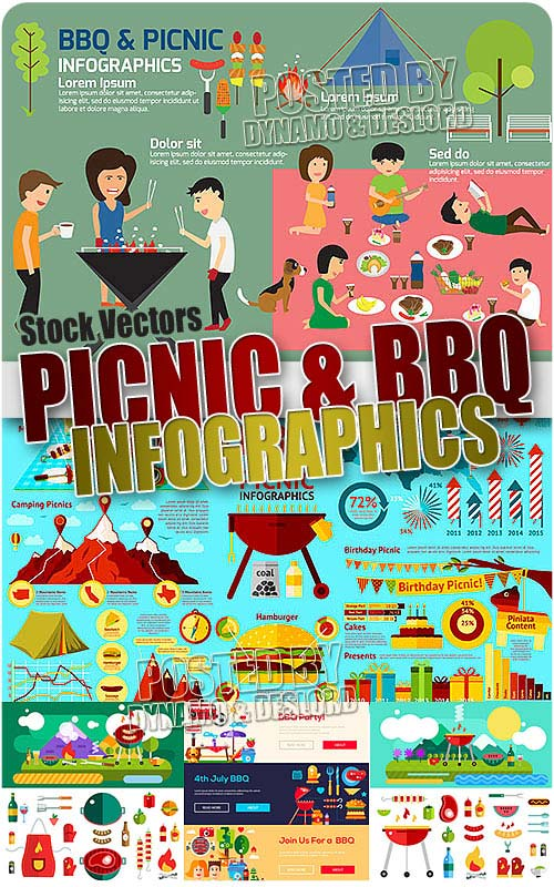 Picnic and BBQ infographics - Stock Vectors