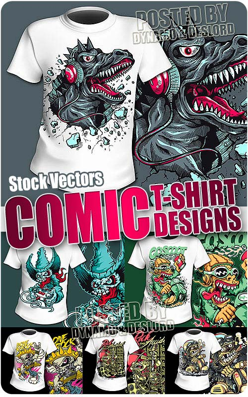 T-Shirts Comic Designs - Stock Vectors