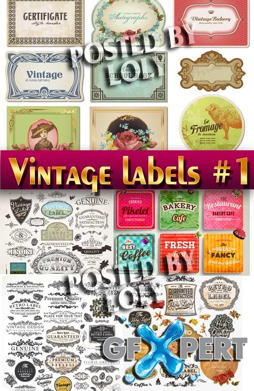 Vintage labels #1 - Stock Vector