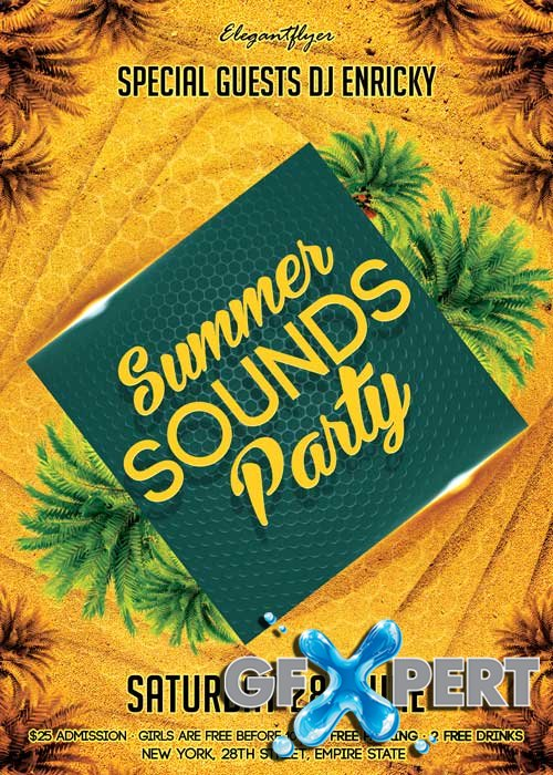 Summer Sounds Party V1 Flyer PSD Template + Facebook Cover