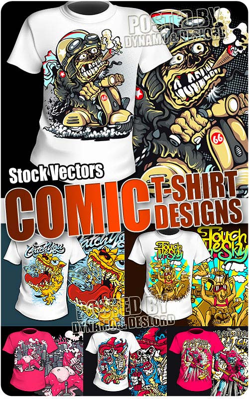 T-Shirt Print Comic Designs #2 - Stock Vectors