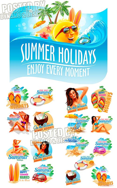Summer stickers - Stock Vectors