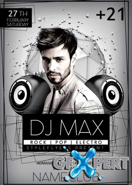 Free Dj Max Psd Flyer Template With Facebook Cover Download