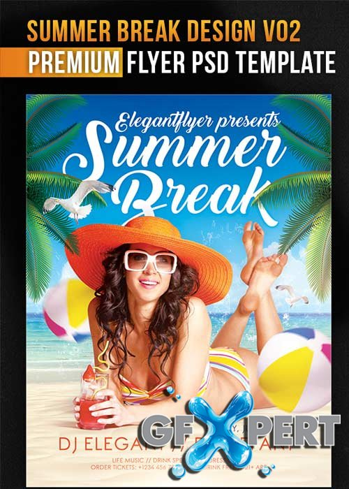 Summer Break Design V02 Flyer PSD Template + Facebook Cover