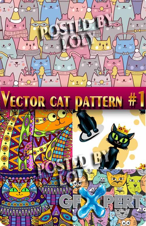 Cats Patterns #1 - Stock Vector