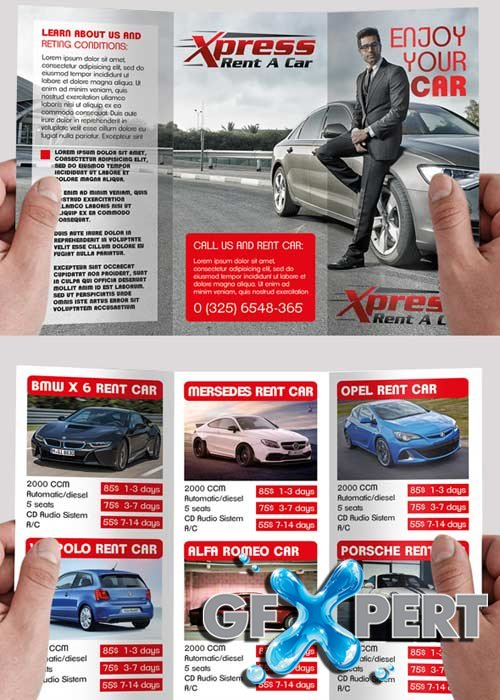 Rent a Car V5 PSD Tri-Fold PSD Brochure Template