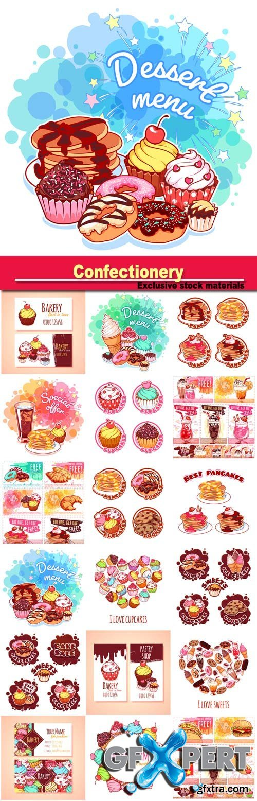 Confectionery, desserts, muffins and pancakes