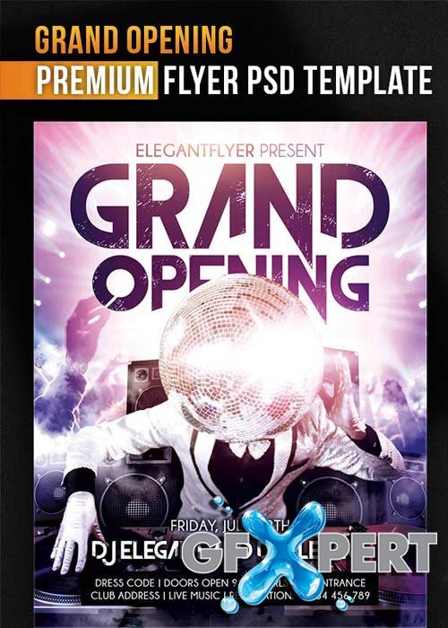 Grand Opening V2 Flyer PSD Template + Facebook Cover