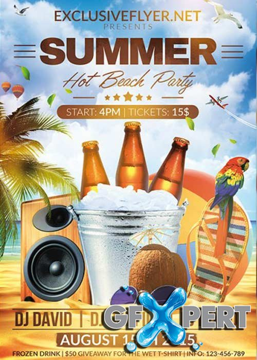 Summer Hot Beach Party V2 Premium Flyer Template + Facebook Cover
