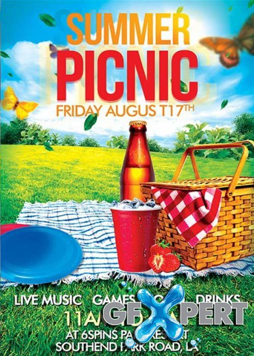 Free Summer Picnic V7 Premium Flyer Template + Facebook Cover Download