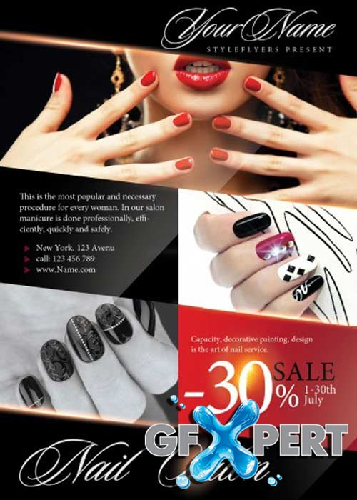 nail flyers free nail salon v1 psd flyer template
