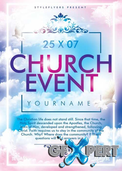 free church event v1 psd flyer template download