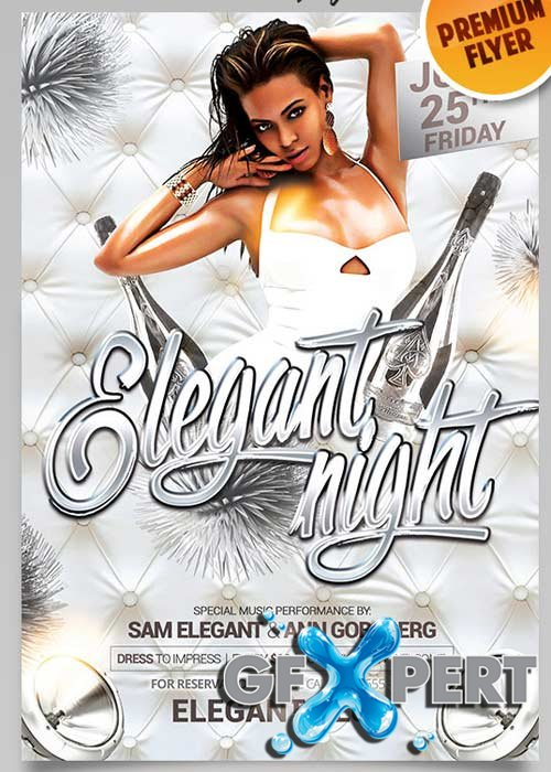 Elegant Flyer Night Vol.2 Flyer PSD Template + Facebook Cover