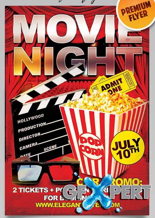 Movie Night Flyer V2 PSD Template + Facebook Cover