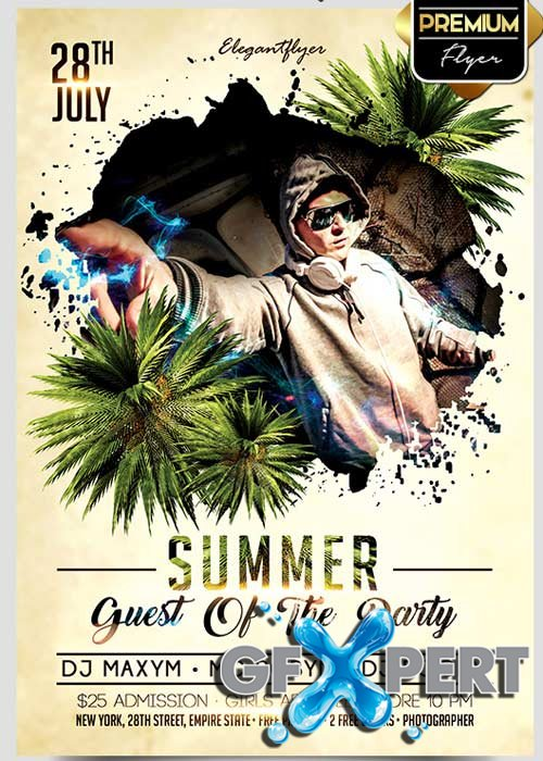 Summer Guest Of The Party Flyer PSD Template + Facebook Cover