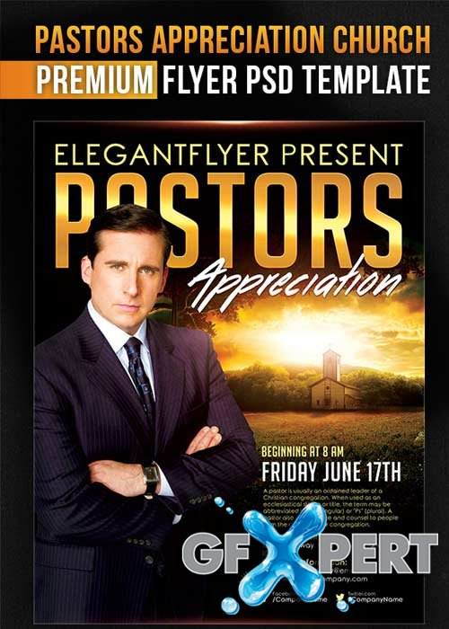 free church flyer templates photoshop - free pastors appreciation church flyer psd template