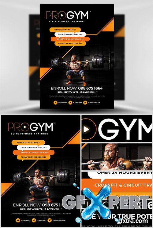 Free PRO Gym Fitness Flyer Template Download